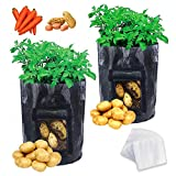 JPSOR 2pcs Potato Grow Bags 10 Gallon with 100pcs Nursery Bags,Garden Vegetables Planter Bags with Flap and Handles Heavy Duty Suitable for Potato, Carrot, Tomato (Black) photo / $20.99